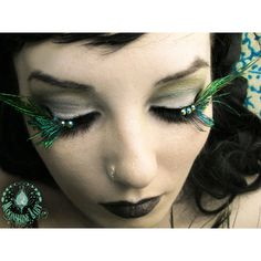 A'Flutter - Exotic Green Peacock Feather Eyelashes w/ Swarovski Crystals - By Moonshine Baby . $30.00