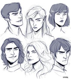 Rhys, Feyre, Amren, Cassian, Mor, and Azriel
