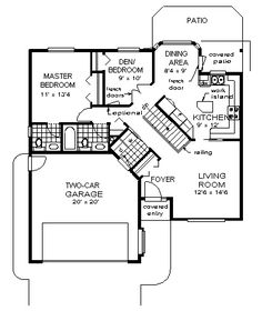 First Floor Plan of Ranch House Plan Switch the bathrooms on first floor, two bedrooms with a bathroom downstairs and rec area. 2 Bedroom House Plans, Ranch House Plans, Cottage House Plans, Craftsman House Plans, Modern House Plans, Small House Plans, Cottage Homes, House Floor Plans, Small Tiny House