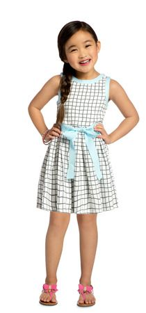 Palm Spring Play Outfit.  Love the pattern on this little dress.  The details like the blue grosgrain ribbon belt add that extra something.  #FabKids