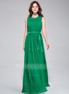 Bridesmaid Dresses - $116.99 - A-Line/Princess Scoop Neck Floor-Length Chiffon Charmeuse Bridesmaid Dress With Pleated (022028096) http://jjshouse.com/A-Line-Princess-Scoop-Neck-Floor-Length-Chiffon-Charmeuse-Bridesmaid-Dress-With-Pleated-022028096-g28096