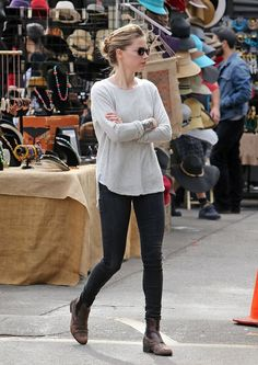1/27/14 - Amber Heard at the Melrose Flea Market. Simple Fashion Statment.