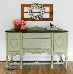 Antique Buffet/Sideboard/Miss Mustard Seed Milk Paint Shabby Chic Sideboard, Sideboard Buffet, Green Painted Furniture, Chalk Paint Furniture, Upcycled Furniture, Furniture Making, Furniture Makeover, Furniture Decor, Painted Buffet