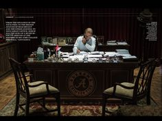 Nick Saban in his office - from the May 7, 2018 Sports Illustrated. #Alabama #RollTide #Bama #BuiltByBama #RTR #CrimsonTide #RammerJammer #SportsIllustrated
