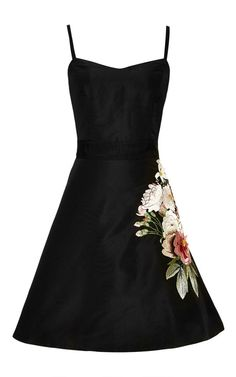 3-D Florals On Silk Faille Sweetheart Neck Cocktail Dress With Embroidered Side by Sachin+Babi - Moda Operandi