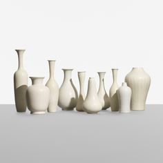 Lot 167: Gunnar Nylund. collection of ten vessels. c. 1950, glazed stoneware. 3 dia x 13¾ h in. estimate: $5,000–7,000. Incised signature to underside of two examples: [Rorstrand Nylund]. Incised signature to underside of eight examples:[R Sweden GN].