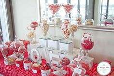Red & White Wedding Candy Buffet/ I would have ice cream toppings instead
