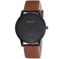 Top Designer Brand GIMTO No Number Dial Men Minimal Watch Leather Band Simple Watches Quartz Analog Unisex Saat Men's Wristwatch Simple Watches, Stylish Watches, Casual Watches, Watches For Men, Wrist Watches, Ladies Watches, Women's Watches, Fashion Watches, Fashion Rings