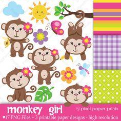 Monkey Girl Clip art and Digital paper set by pixelpaperprints