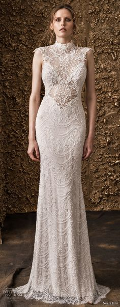 nurit hen 2018 bridal cap sleeves high jewel neck full embellishment elegant sheath wedding dress lace back sweep train (15) mv