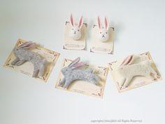rabbit felt brooch