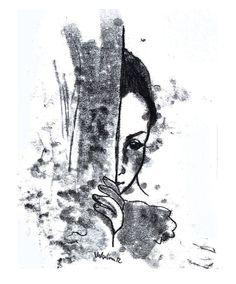 Original Monotype Drawing black white  Around the corner  by caid, $30.00
