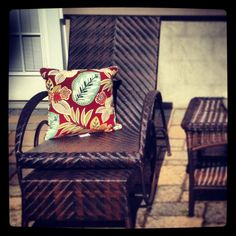 Patio chairs (Pier 1) Pillows (Bed Bath & Beyond) #patio #outdoorentertaining