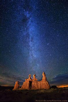 Milky Way stars (facing north) over the Three Sisters hoodoos in Goblin Valley State Park, #Utah