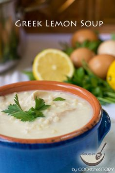 Quick Homemade Avgolemono Soup (Greek Lemon Soup Recipe) with chicken and tiny noodles, ready in under 15 minutes!