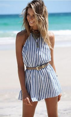 2736aae504c Open Back Stripes Romper Striped Playsuit