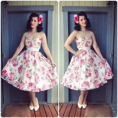 Miss Victory Violet (Pin up New Zealand) in gorgeous rose print dress and hair flowers