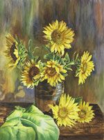Sunflowers in watercolor by Lisa Hill
