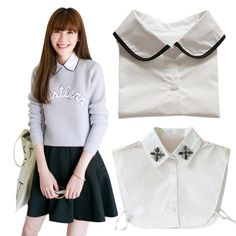 Women Retro Decor Fake Half Shirt Blouse Peter Pan Detachable Collar Pearl Tie Blouse. Yesterday's price: US $3.75 (3.09 EUR). Today's price: US $3.30 (2.71 EUR). Discount: 12%.