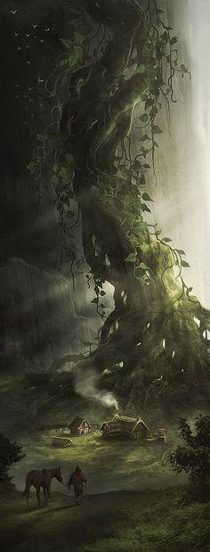 Fantasie beeld bos met huisjes