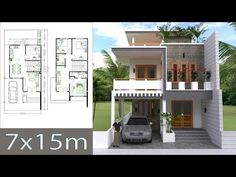 Home Design Plan 7x15m with 4 Bedrooms - YouTube