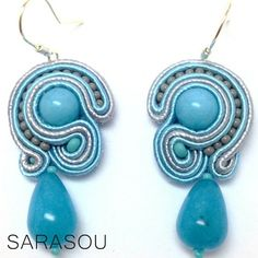 Blue and silver earrings from my Basic collection. #Sarasou #Basic #soutache #soutacheembriodery #earrings #blue #silver