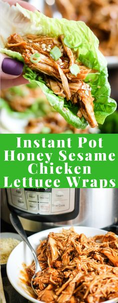 Instant Pot Honey Sesame Chicken Lettuce Wraps are a delicious healthy meal that. - Instant Pot Honey Sesame Chicken Lettuce Wraps are a delicious healthy meal that cooks in just 10 m - Instant Pot Pressure Cooker, Pressure Cooker Recipes, Clean Eating, Healthy Eating, Dinner Healthy, Healthy Nutrition, Salat Wraps, Honey Sesame Chicken, Recipes