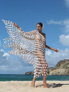 Made of individually crocheted 2500 flowers, Madonna One Shoulder Dress is the. Madonna, Diy Clothes Design, One Shoulder Dress Long, Dress Hairstyles, Sheer Lingerie, Knitted Gloves, Beach Dresses, Couture Collection, Crochet Clothes