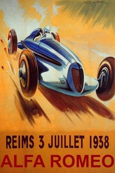 Reims French Riviera 1938 Fast Alfa Romeo Car Automobile Vintage Poster Repro