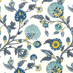 Navy Blue Yellow Floral Upholstery Drapery by PopDecorFabrics