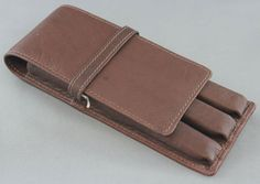 3-Pen Brown Leather Fountain Pen Case