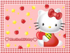 hello kitty with apple wallpaper - http://69hdwallpapers.com/hello-kitty-with-apple-wallpaper/