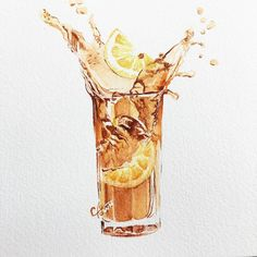 #watercolour#lemon tea