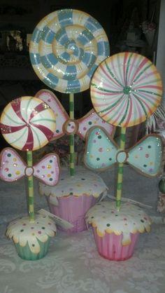 gingerbread gcandy | Gingerbread Pastel Candyland Christmas Village Props Bottle Brush Tree ...