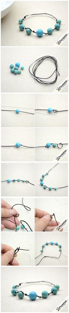 Easy Knotted Bracelet Tutorial - How to Make a Knotted Bracelet with Beads from pandahall.com