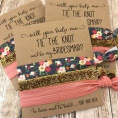Bridesmaid proposal hair tie favors, will you help me tie the knot and be my Bridesmaid, Maid of Honor, Flower Girl, gifts for her Ways To Ask Bridesmaids, Best Bridesmaid Gifts, Bridesmaid Proposal Gifts, Bridesmaids And Groomsmen, Be My Bridesmaid, Bridesmaid Boxes, Bridesmaid Dresses, Cruise Wedding, Our Wedding