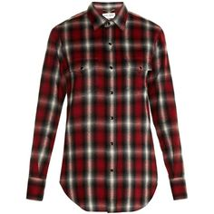 Saint Laurent Checked flannel shirt ($890) ❤ liked on Polyvore featuring tops, shirts, red multi, red plaid shirt, red top, cowgirl shirts, snap shirt and checkered shirt