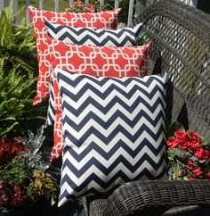 Red, white and blue throw pillows Blue Throw Pillows, Outdoor Throw Pillows, Decorative Throw Pillows, Blue And White, Dark Blue, Pillow Set, Home Deco, Indoor Outdoor, Chevron