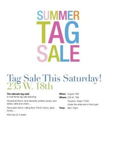 Summer Tag Sale