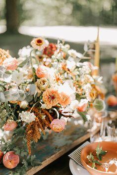 And peach rustic peach wedding, apricot wedding, floral wedding, fall w Rustic Peach Wedding, Apricot Wedding, Rustic Wedding Flowers, Floral Wedding, Wild Flower Wedding, Purple Wedding, Gold Wedding, Wedding Shoes, Wedding Centerpieces