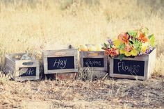 Set of 4 Rustic Crates w/ Blackboard / Chalkboard Fronts / Wooden Boxes / Wedding Food Display assorted