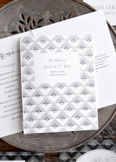 simple, vintage booklet wedding programs in black and white by hello tenfold