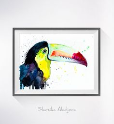Keel-Billed Toucan watercolor painting print Toucan by SlaviART