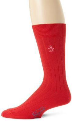 Original Penguin Men's Solid, Flame Scarlet, One Size Original Penguin. $15.00. Peruvian pima cotton. Machine Wash. Made in Peru. Mid-calf length. 62% Cotton/37% Nylon/1% Spandex. An embroidered logo adorns the no-nonsense lines of this Original Penguin Solid dress sock.. Ribbed