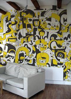 Mural Doodle wall by Jon Burgerman Murals Street Art, Street Art Graffiti, Graffiti Room, Mural Painting, Mural Art, Wall Murals, Wall Paintings, Office Mural, Office Walls