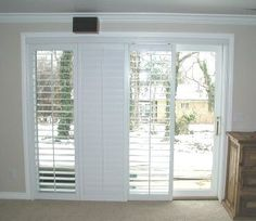 Plantation Shutters on sliding glass door - for family room, to cover triple slider and double slider, BUT in wood - medium/cinnamon color Sliding Door Shutters, Sliding Door Coverings, Glass Door Coverings, Interior Window Shutters, Interior Windows, Interior Barn Doors, Window Coverings, Sliding Door Window Treatments, Slider Door