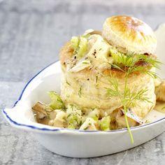 Bladerdeeghapje met kabeljauw en champignons
