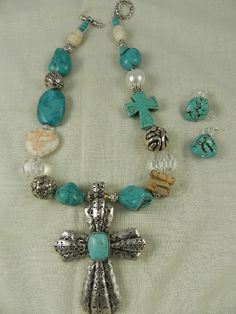 Chunky Cross Tan Turquoise Necklace