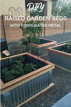 my DIY raised garden beds! They're the perfect easy garden box for someone who is new to growing vegetables at home. I grow zucchini, tomatoes, and peppers in my raised vegetable garden or planter box! Metal Raised Garden Beds, Raised Planter Beds, Raised Beds, Metal Beds, Building Raised Garden Beds, Vegetable Boxes, Vegetable Garden Design, Vegetable Gardening, Container Gardening