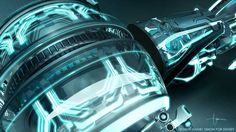 The wheels contain old school circuit boards as visual reminiscence to computer hardware. Tron Legacy, Light Cycle, Bike Design, Auto Design, Car Design Sketch, Conceptual Design, Sci Fi Movies, Photoshop, Sci Fi Art